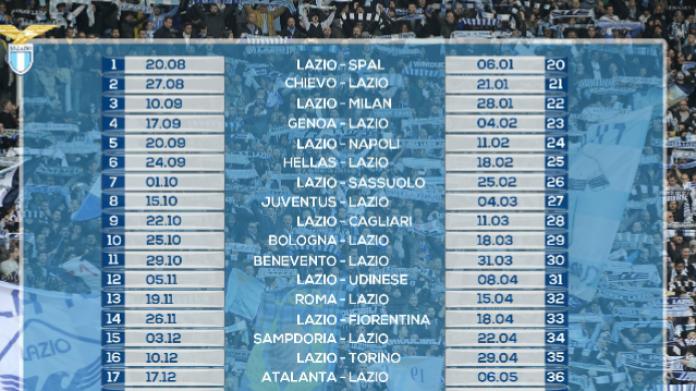 Serie A Calendario Completo.Serie A 2017 2018 Il Calendario Completo Della Lazio
