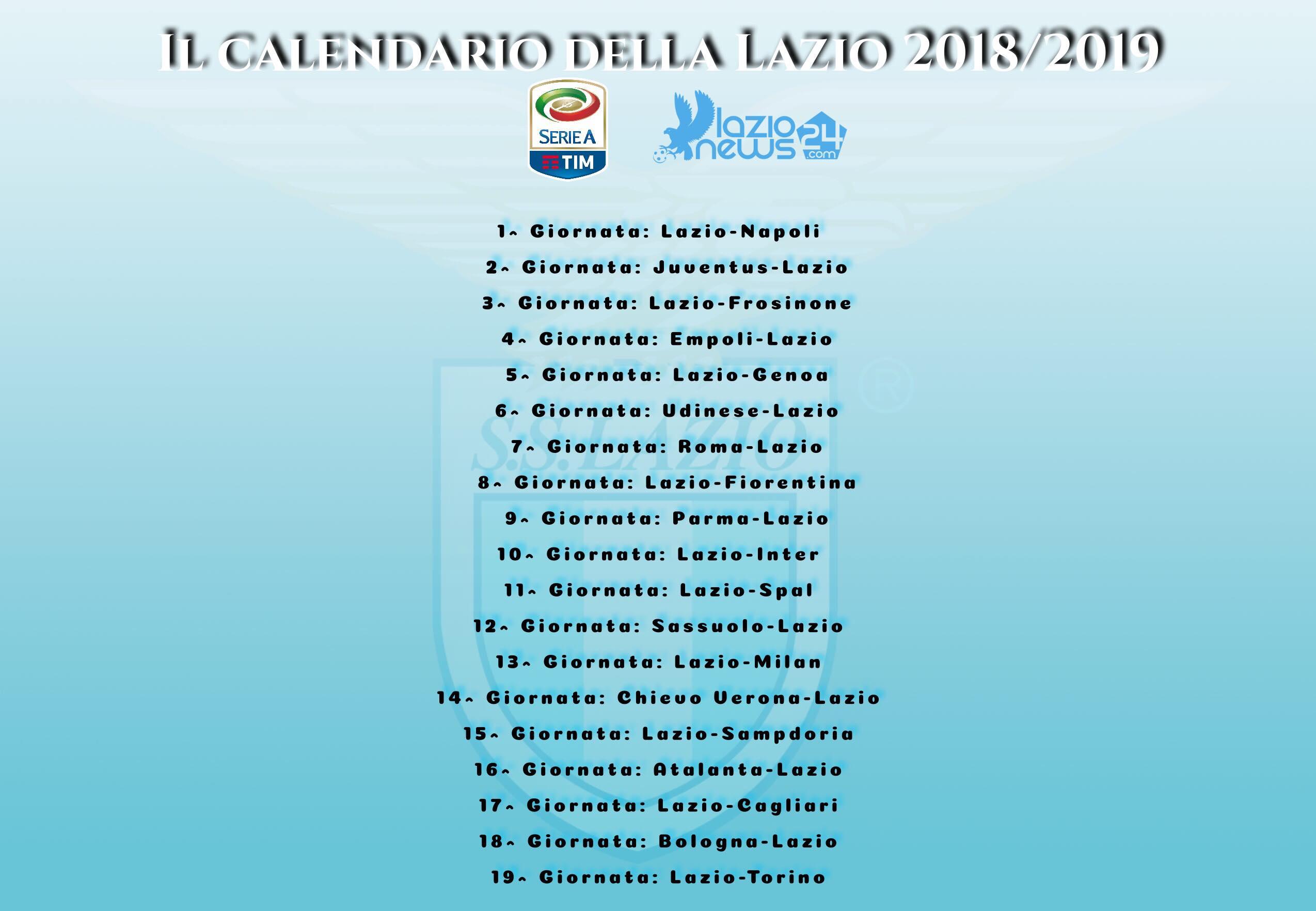 Chievo Verona Calendario.Sorteggio Calendario Serie A 2018 2019 Lazio Napoli All