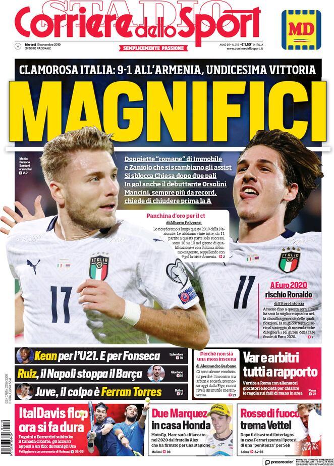Lazio, le prime pagine dei principali quotidiani sportivi – 19 novembre 2019 - Lazio News 24