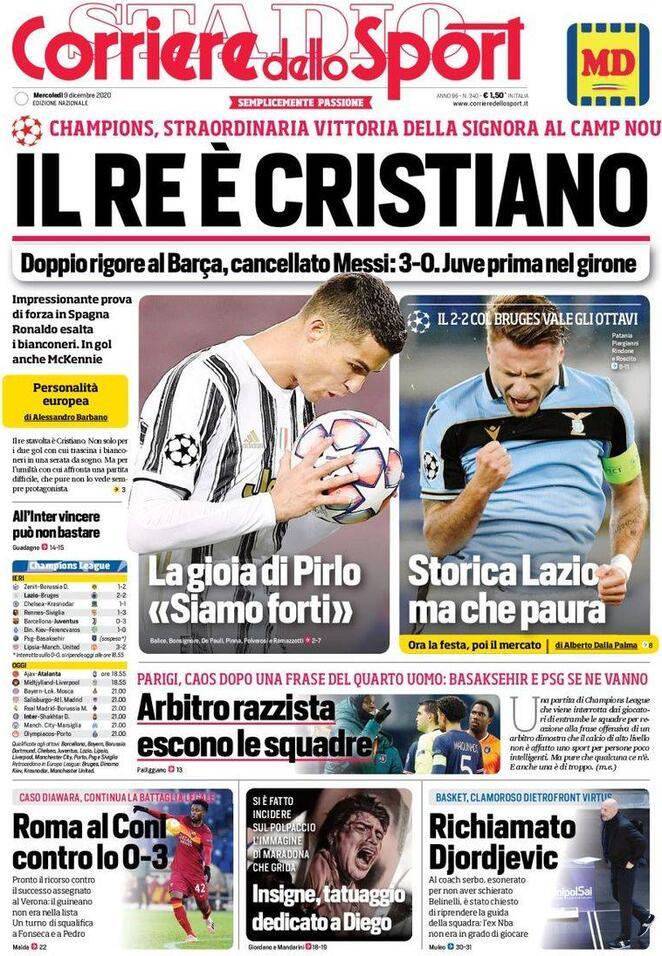 Le Prime Pagine Dei Principali Quotidiani Sportivi 9 Dicembre